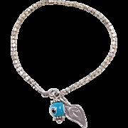 "Sterling Silver Evil Eye Bracelet ~7"" ~ Blue Eye Bead and Leaf Charms"