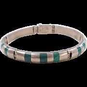 """Sterling Silver Malachite Bracelet ~ 7 1/2"""""""