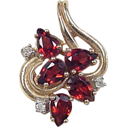 Vintage 10k Gold Garnet and Diamond Pendant