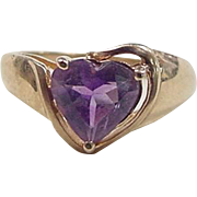 Vintage 10k Gold Amethyst Heart Ring