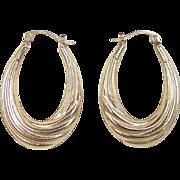 Vintage 14k Gold Oval Hoop Earrings