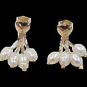 Vintage 14k Gold Heart Freshwater Pearl Earrings