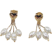 Vintage 14k Gold Heart Freshwater Pearl Earrings
