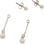 Vintage 14k Gold Cultured Pearl Stud Earrings with Jackets