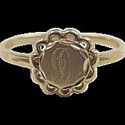 Vintage 14k Gold Letter D Signet Ring