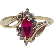 Vintage 14k Gold Created Ruby and Diamond Ring