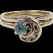 Vintage 14k Gold Blue Topaz and Diamond Ring