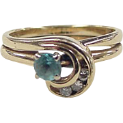 Vintage 14k Gold Blue Topaz and Diamond Ring