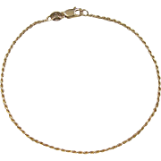 Vintage 18k Gold Diamond Cut Rope Bracelet ~ 8""