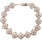 Vintage 10k Gold Two-Tone Diamond Bracelet ~ 7 3/4""