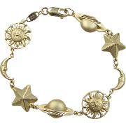 Vintage 14k Gold Star, Sun, Moon and Planet Bracelet ~ 6 7/8""