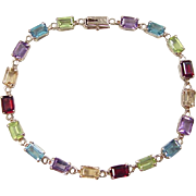 Vintage 10k Gold Colorful Gemstone Bracelet ~ 7""