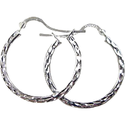 Vintage 10k White Gold Hoop Earrings