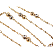 """Vintage 18k Gold Two-Tone Singapore and Bead Station Necklace ~ 15 1/2"""""""