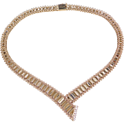Vintage 14k Gold Diamond Necklace ~ 16 1/4""