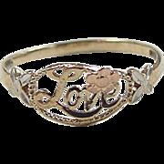 Vintage 10k Gold Tri-Color LOVE Ring