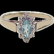 Vintage 10k Gold Two-Tone Blue Topaz Ring