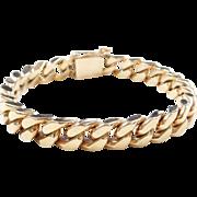 """Vintage 14k Gold Heavy Curb Link Bracelet ~ 8 1/4"""" ~ 81.5 Grams"""