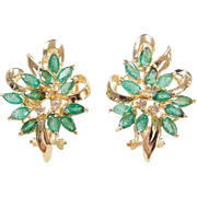 Vintage 14k Gold Natural Emerald and Diamond Earrings ~ Omega Backs