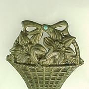 MEXICO Sterling Silver Floral Basket Brooch With Turquoise Accent