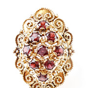 Vintage Ring Highly Ornate Garnet 14k Yellow Gold