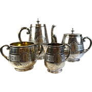 Antique M. W. Brandt 800 Silver Tea & Coffee Set, 4 Set