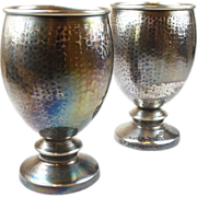 Estate 900 Silver Hand Hammered Water / Wine Goblet (Pair)