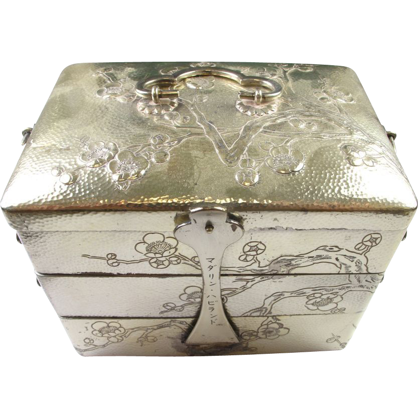 RARE Antique Sterling Silver 3-Tiered Traveling Jewelry