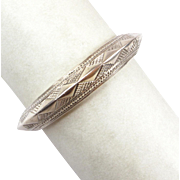 Estate Sterling Silver Rattling Cuff Bracelet - Diamond Back Rattle Snake Pattern