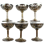 Set of (6) Estate Sterling Silver & Glass Footed Dessert Serving Bowls
