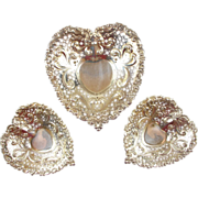 "(3) Estate Sterling Silver Gorham ""Chantilly"" Heart-Shaped Bon Bon / Nut / Candy Dishes"