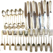 "Estate Sterling Silver STIEFF 1892 ""Rose"" Set - Service for 10 - No Mono"