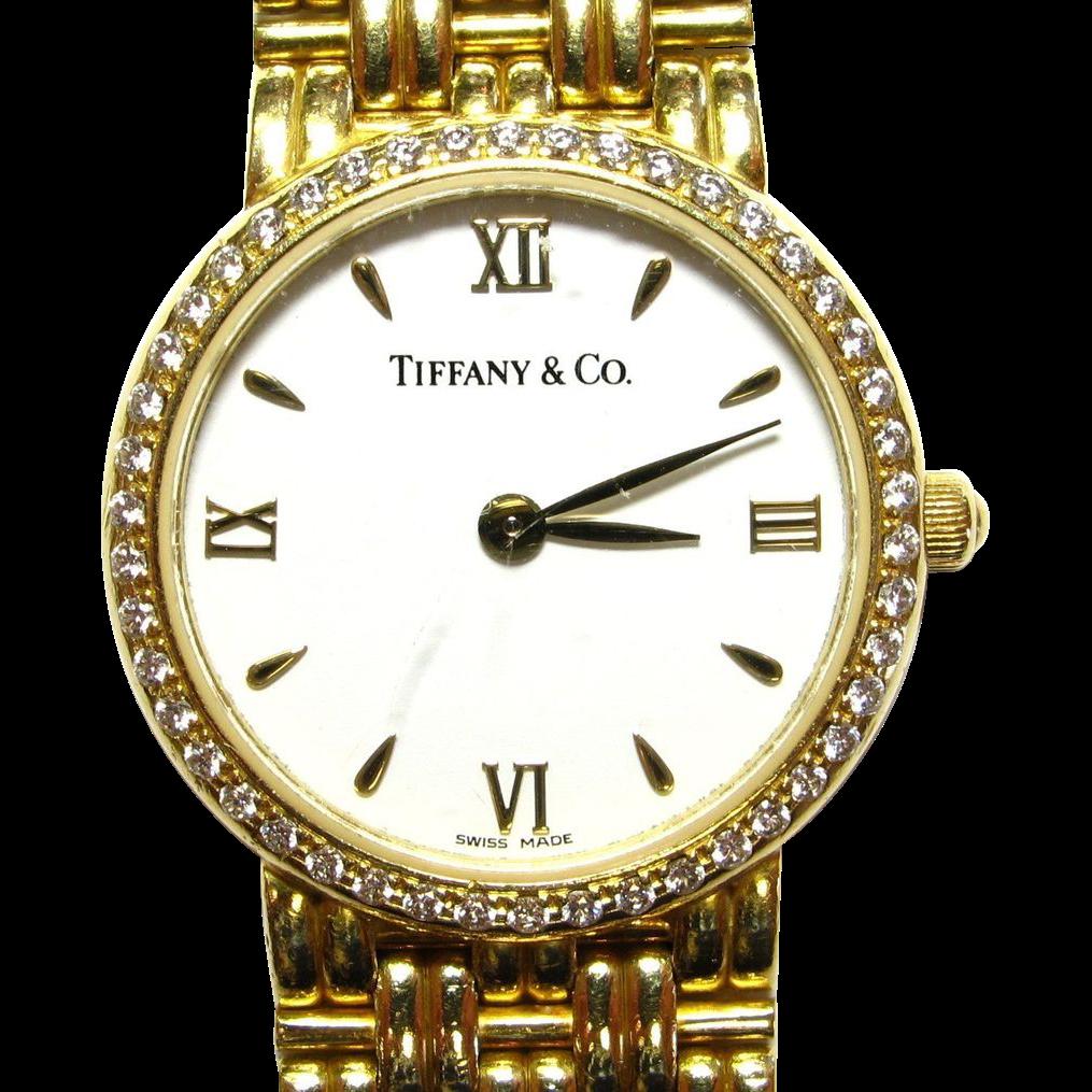 Tiffany & Co. Solid 18k Ladies Gold & Diamond Wristwatch