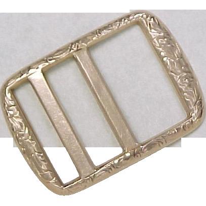Victorian 10k Gold Belt Buckle Ornate Engraved Arnold