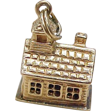 Vintage 14k Gold Charm, SCHOOL House Three Dimensional