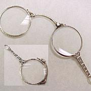 Art Deco 14k White Gold Lorgnette  Folding Magnifying Glass Pendant