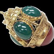 BIG 18k Gold Charm / Pendant Carnelian & Chrysoprase 1950's