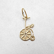 Vintage 18k Gold Charm ~ High Wheel Bicycle / Trike