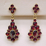 Bohemian Garnet Ornate Dangle Earrings 18k Gold