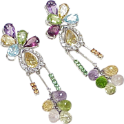 Colorful LONG Dangle Earrings 18k White Gold Diamond Accent