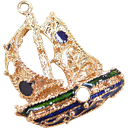 Vintage 18k Gold Charm / Pendant SAILBOAT Colorful Enamel Accent