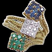 Vintage 18k Gold Ring Sapphire Diamond & Emerald