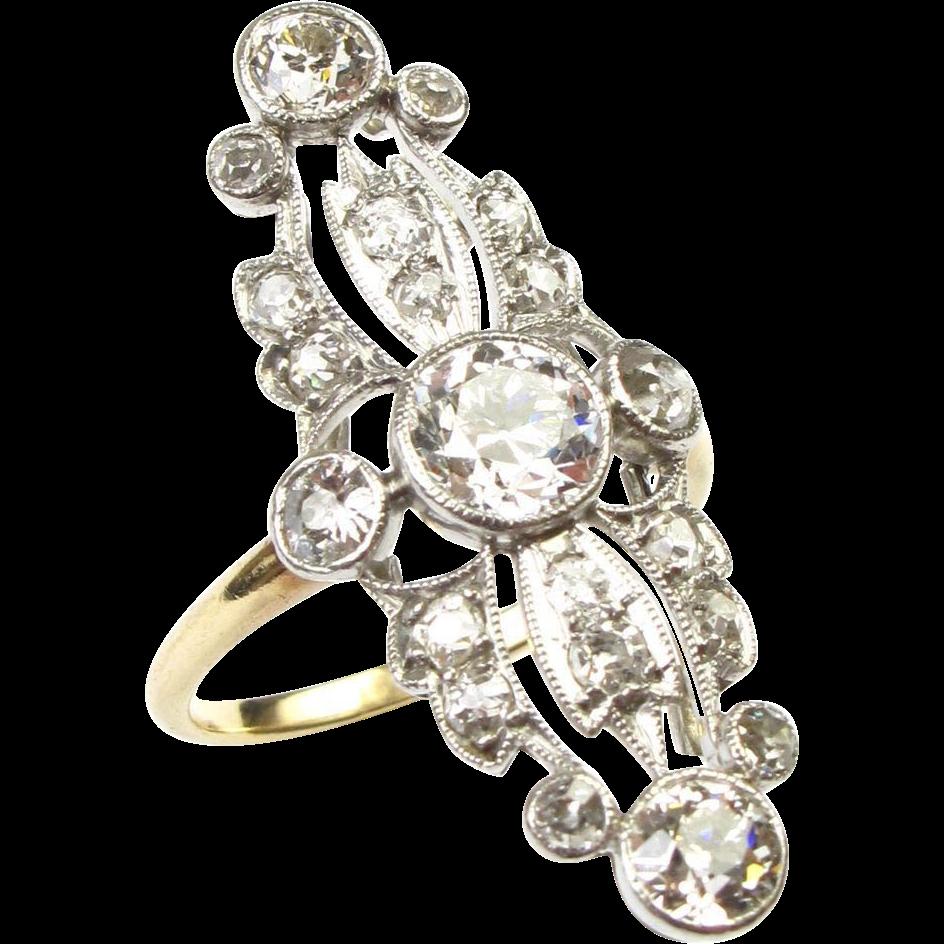 Edwardian 1.75 ctw DIAMOND Ring Platinum Top Ornate Details