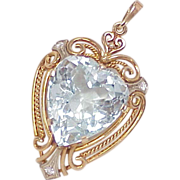 Gorgeous 21 Carat Aquamarine & Diamond Pendant