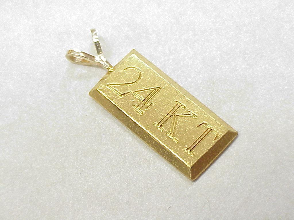 Vintage 24k Gold Bar Charm Pendant From Arnoldjewelers