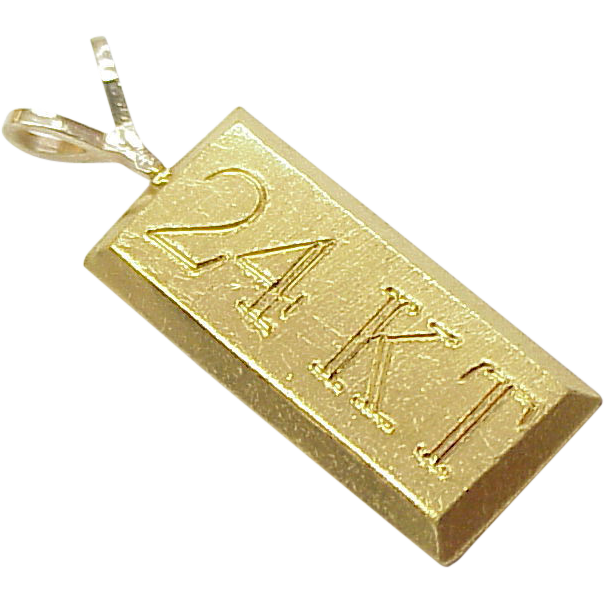 Vintage 24k gold bar charm pendant arnold jewelers ruby lane aloadofball Images