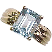 Saturated Color 3.0 Carat AQUAMARINE Ring 10k Gold