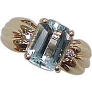 Emerald Cut 3.0 Carat AQUAMARINE Ring Diamond Accent 14K Gold