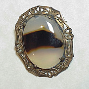 Vintage Pin/Brooch Sterling Silver & Agate