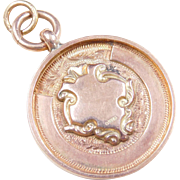 European Charm  9k Gold, Rose & Yellow, Disk Medallion / Cartouche
